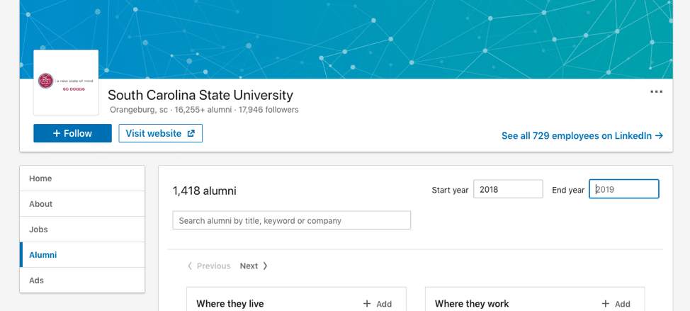 LinkedIn information college alumni